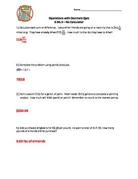 6.NS.3 Operations with Decimals Quiz