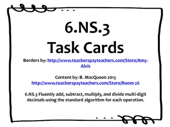 6.NS.3 Task Cards (Add, Subtract, Multiply, Divide Decimal