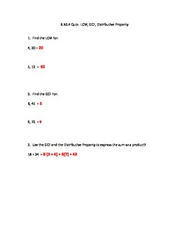 6.NS.4 LCM, GCF and Distributive Property Quiz