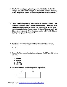 6.NS.4 Study Guide and Quiz GCF & LCM