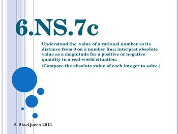 6.NS.7c Absolute Value in Real World Situations