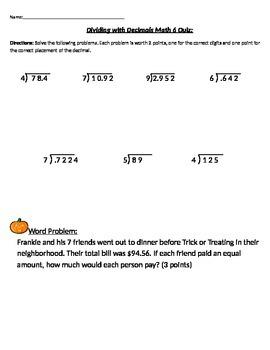 6.NS.B.3 Dividing Decimals Quiz