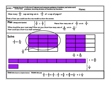 6.NS.1 Part I. Solve word problems involving division of fractions.