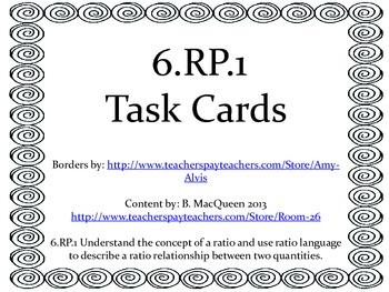 6.RP.1 Task Cards (32 different tasks)