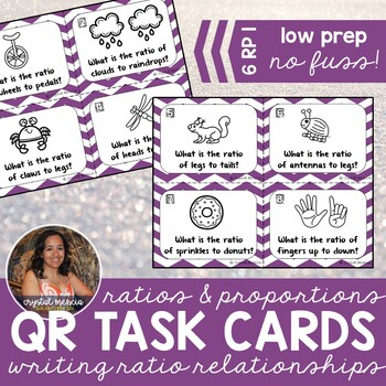 6RP1 Writing Ratio Relationships *QR* MATH TASK CARDS