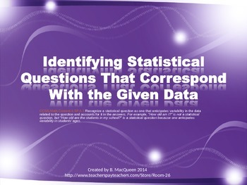 6.SP.1 Identifying Statistical Questions by Using Data Tables