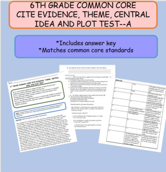 6TH GRADE COMMON CORE CITE EVIDENCE, THEME, CENTRAL IDEA, AND PLOT TEST--A