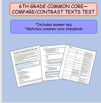 6TH GRADE COMMON CORE COMPARE/CONTRAST TEXTS TEST