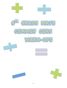 6TH GRADE MATH COMMON CORE WARM UPS