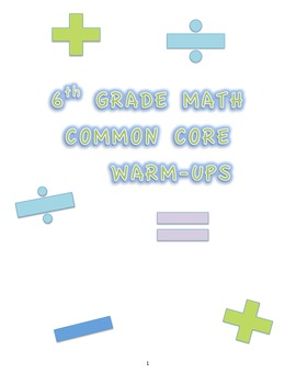 6TH GRADE MATH COMMON CORE WARM UPS