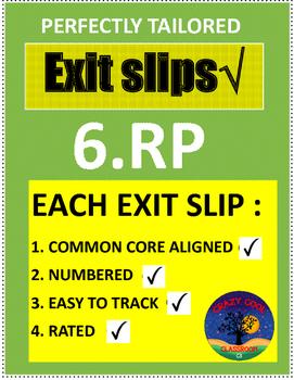 6TH GRADE MATH EXIT SLIPS 6.RP