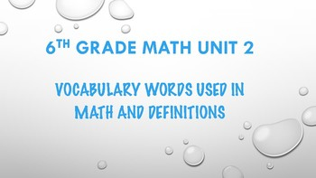 6TH GRADE MATH WORD WALL VOCABULARY UNIT 2