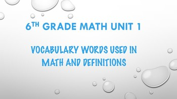 6TH GRADE MATH WORD WALL VOCABULARY UNITS 1-7 THIS IS A BUNDLE 100 WORDS