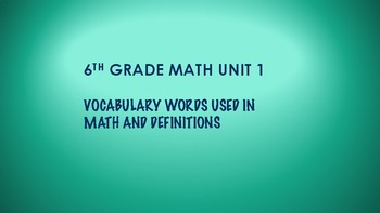 6TH GRADE MATH WORD WALL VOCABULARY UNITS 1-7 THIS IS A BUNDLE 100 WORDS green