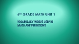 6TH GRADE MATH WORD WALL VOCABULARY UNITS 1-7 THIS IS A BU