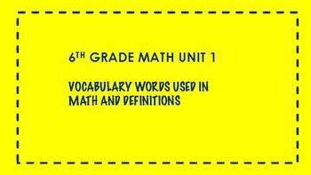 6TH GRADE MATH WORD WALL VOCABULARY UNITS 1-7 THIS IS A BUNDLE 100 WORDS yellowb