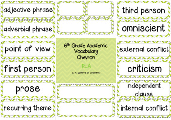 6TH Grade Academic Vocabulary RLA Editable