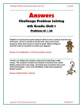 Math-6th Grade-Months 1-10: Challenge Problem Solving (Questions 1-200)