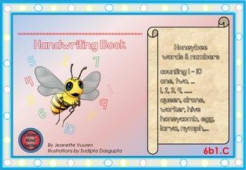 HANDWRITING CARDS:HONEYBEE WORDS & PICTURES & NUMBER 1 - 10 - 6b1C