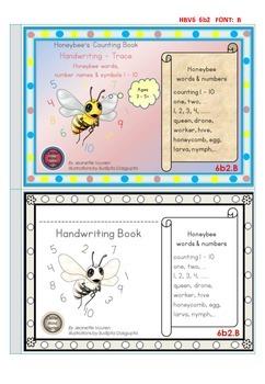 HANDWRITING BOOKLETS:HONEYBEE WORDS & PICTURES & NUMBER 1 - 10 - MEDIUM-6b2B
