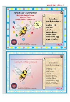 HANDWRITING BOOKLETS:HONEYBEE WORDS & PICTURES & NUMBER 1 - 10 - MEDIUM-6b2C