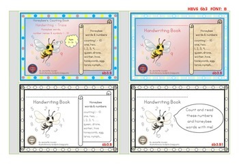 HANDWRITING BOOKLETS:HONEYBEE WORDS & PICTURES & NUMBER 1 - 10 - SMALL-6b3B