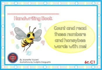 HANDWRITING CARDS:HONEYBEE'S COUNTING BOOK-VOL 6-COLORED PICTURES-WHITE BGR-6cC