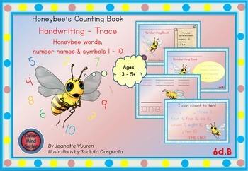 HANDWRITING CARDS: HONEYBEE WORDS & PICTURES & NUMBER 1 - 10 - COLORED BGR - 6dB