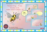 HANDWRITING CARDS: HONEY BEE WORDS & PICTURES & NUMBER 1 - 10, COLORED BGR - 6dB