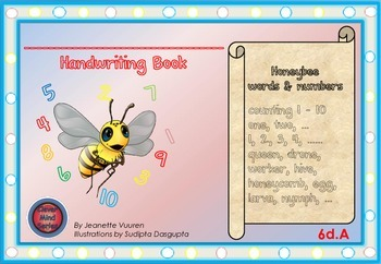 HANDWRITING CARDS: HONEYBEE WORDS & PICTURES & NUMBER 1 - 10 - COLORED BGR - 6dA
