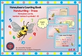 HANDWRITING CARDS: HONEY BEE WORDS & PICTURES & NUMBER 1 - 10, COLORED BGR - 6dA