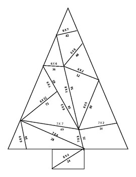 6s and 7s Multiplication Facts Christmas Tree Puzzle