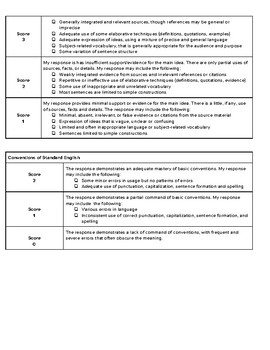 6th - 10th Grade Informational/Expositional Essay Rubric - Student Friendly