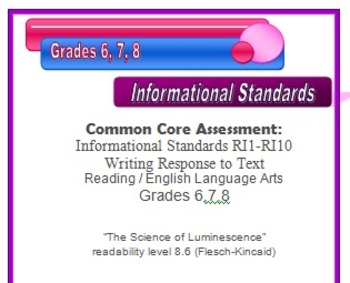 6th 7th 8th Grade Common Core Reading/ELA Test Prep Informational Standards