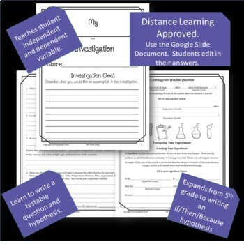 6th, 7th, 8th Grade Investigation Journal:  Student Created Experiments