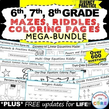 6th, 7th, 8th Grade Math MAZES, RIDDLES, COLORING PAGE (Fu