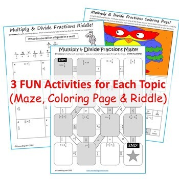 Back to School 6th, 7th, 8th Grade Math MAZES, RIDDLES, COLORING PAGES