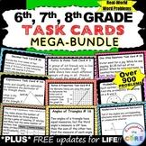 6th, 7th, 8th Grade Math TASK CARDS Bundle (Skills Practic