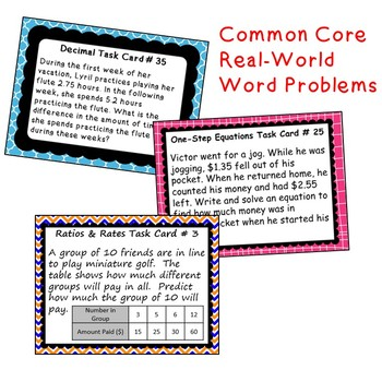 6th, 7th, 8th Grade Math TASK CARDS Bundle (Skills Practice & Word Problems)