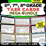 6th, 7th, 8th Grade Math TASK CARDS Bundle (Word Problems) End of Year