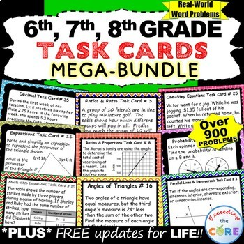 6th, 7th, 8th Grade Math TASK CARDS Bundle (Skills Practic