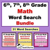 6th, 7th, 8th Grade Math Vocabulary, Year Long, Word Search Bundle