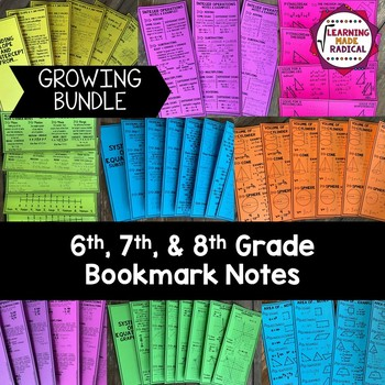 6th, 7th and 8th Grade Bookmark Notes Bundle