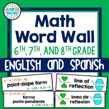 6th, 7th, and 8th Grade ENGLISH AND SPANISH Word Wall Cards