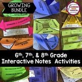 6th, 7th and 8th Grade Interactive Notes Activities