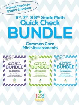 6th, 7th, and 8th Grade Math Common Core Quick Check Mini Assessments BUNDLE!