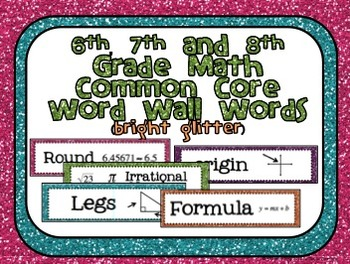 6th, 7th and 8th Grade Math Common Core Word Wall Words-Bright Glitter!