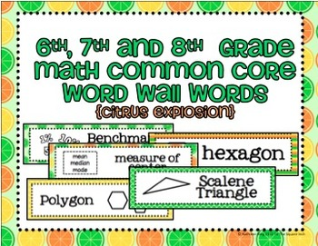 6th, 7th and 8th Grade Math Common Core Word Wall Words-Citrus Explosion
