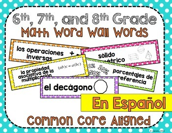 6th, 7th and 8th Grade Math Common Core Word Wall Words- in Spanish!