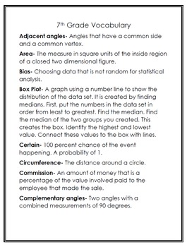 6th, 7th and 8th Grade Math Dictionary with Definitions